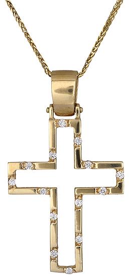 Βαπτιστικοί Σταυροί με Αλυσίδα Γυναικείος σταυρός 14Κ C011442 011442C Γυναικείο Χρυσός 14 Καράτια