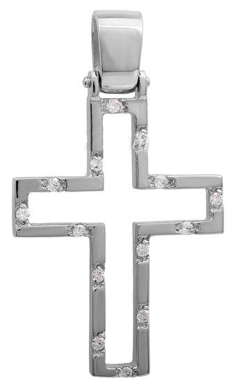 Σταυροί Βάπτισης - Αρραβώνα Λευκόχρυσος σταυρός Κ14 011443 011443 Γυναικείο Χρυσός 14 Καράτια