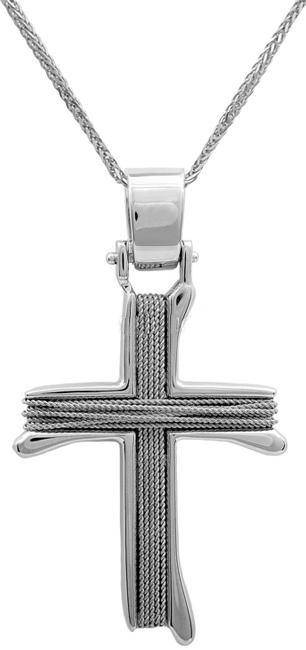 Βαπτιστικοί Σταυροί με Αλυσίδα Λευκόχρυσος σταυρός με αλυσίδα Κ14 011456C Ανδρικό Χρυσός 14 Καράτια