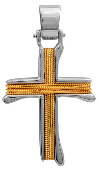 Σταυροί Βάπτισης - Αρραβώνα Δίχρωμος συρματερός σταυρός 14Κ 011457 011457 Ανδρικό Χρυσός 14 Καράτια