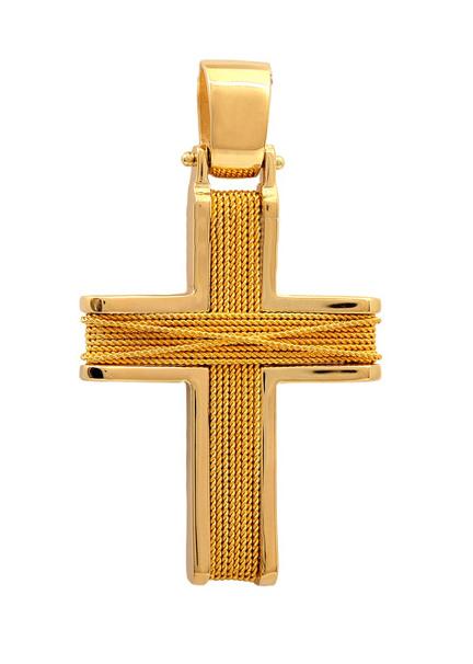 Σταυροί Βάπτισης - Αρραβώνα Χειροποίητος χρυσός συρματερός σταυρός 14Κ 011458 Ανδρικό Χρυσός 14 Καράτια
