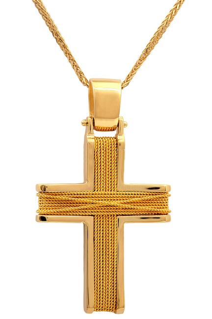 Βαπτιστικοί Σταυροί με Αλυσίδα Χειροποίητος συρματερός σταυρός 14Κ με αλυσίδα 011458C Ανδρικό Χρυσός 14 Καράτια