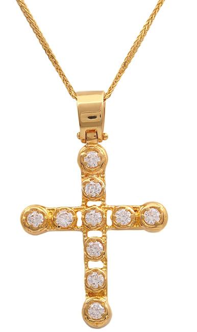 Βαπτιστικοί Σταυροί με Αλυσίδα Χρυσός σταυρός 14Κ με αλυσίδα 011468C Γυναικείο Χρυσός 14 Καράτια