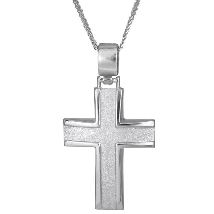 Βαπτιστικοί Σταυροί με Αλυσίδα Ανδρικός σταυρός λευκόχρυσο Κ14 C011486 011486C Ανδρικό Χρυσός 14 Καράτια