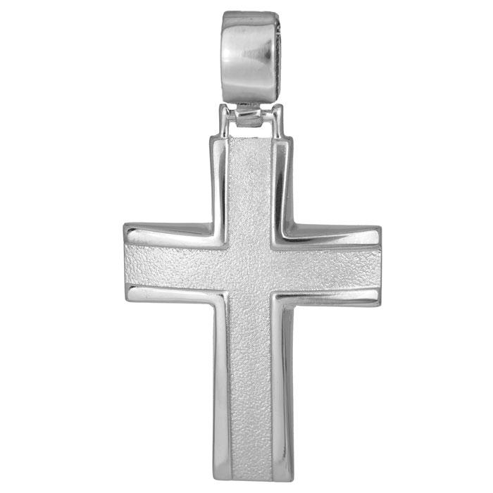 Σταυροί Βάπτισης - Αρραβώνα Λευκόχρυσος σταυρός 14Κ 011486 011486 Ανδρικό Χρυσός 14 Καράτια
