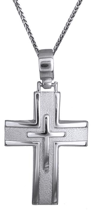 Βαπτιστικοί Σταυροί με Αλυσίδα Λευκόχρυσος αντρικός σταυρός 14Κ C011488 011488C Ανδρικό Χρυσός 14 Καράτια
