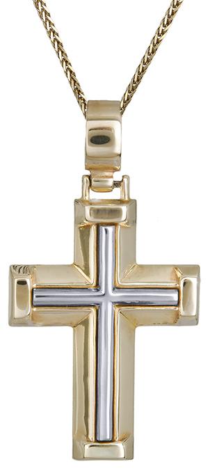 Βαπτιστικοί Σταυροί με Αλυσίδα Αντρικός σταυρός δίχρωμος C011499 011499C Ανδρικό Χρυσός 14 Καράτια