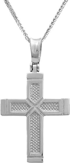 Βαπτιστικοί Σταυροί με Αλυσίδα Αντρικοί σταυροί λευκόχρυσοι C011514 011514C Ανδρικό Χρυσός 14 Καράτια