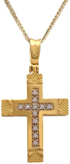 Βαπτιστικοί Σταυροί με Αλυσίδα Γυναικείος σταυρός με πέτρες ζιργκόν Κ14 C011521 011521C Γυναικείο Χρυσός 14 Καράτια