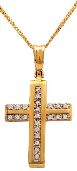 Βαπτιστικοί Σταυροί με Αλυσίδα Σταυρός χρυσός με αλυσίδα 14Κ 011539C Γυναικείο Χ σταυροί βάπτισης   γάμου βαπτιστικοί σταυροί με αλυσίδα