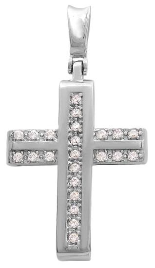 Σταυροί Βάπτισης - Αρραβώνα Λευκόχρυσος σταυρός Κ14 011540 011540 Γυναικείο Χρυσός 14 Καράτια