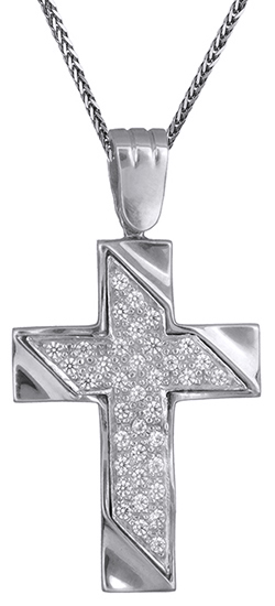 Βαπτιστικοί Σταυροί με Αλυσίδα Λευκόχρυσος γυναικείος σταυρός με καδένα Κ9 C012648 012648C Γυναικείο Χρυσός 9 Καράτια