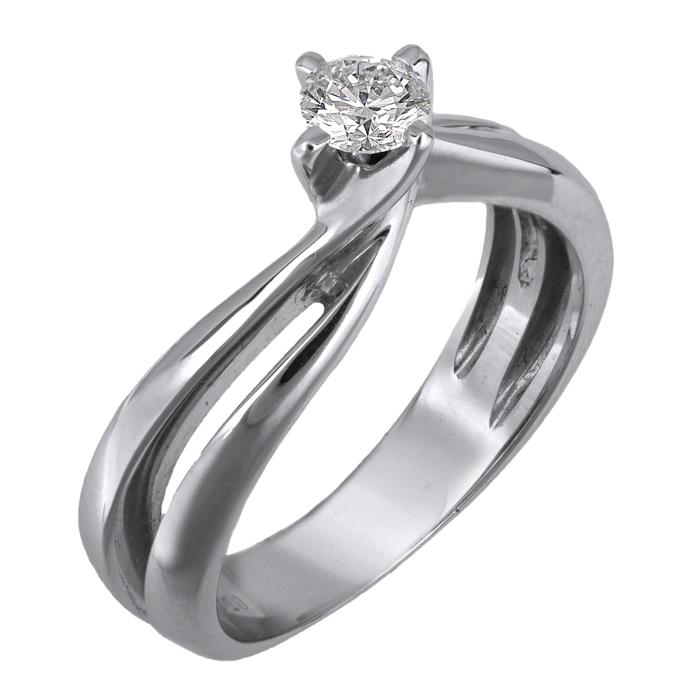 Μονόπετρο λευκόχρυσο δαχτυλίδι 18Κ με μπριγιάν 011573 011573 Χρυσός 18 Καράτια