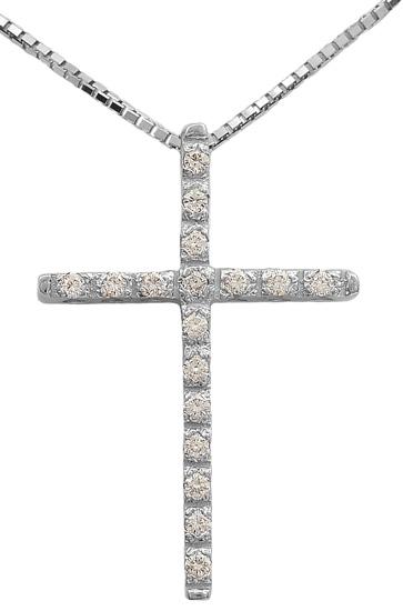 Βαπτιστικοί Σταυροί με Αλυσίδα Λευκόχρυσος σταυρός 18Κ με διαμάντια 011694 Γυναικείο Χρυσός 18 Καράτια