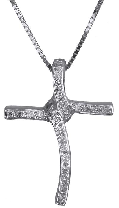 Βαπτιστικοί Σταυροί με Αλυσίδα Λευκόχρυσος σταυρός 18Κ με διαμάντια C011696 011696C Γυναικείο Χρυσός 18 Καράτια