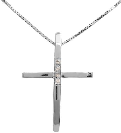 Βαπτιστικοί Σταυροί με Αλυσίδα Λευκόχρυσος σταυρός με διαμάντια 18Κ 011707 Γυναικείο Χρυσός 18 Καράτια