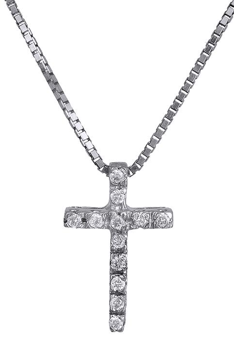 Σταυρός λευκόχρυσος 18Κ με διαμάντια 011709 011709 Χρυσός 18 Καράτια χρυσά κοσμήματα σταυροί