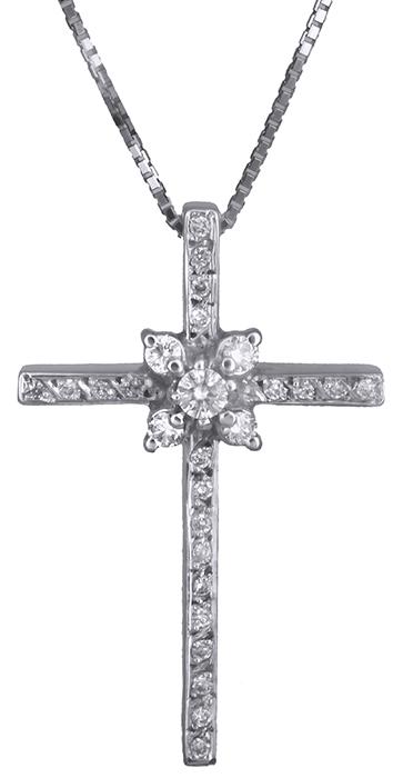 Βαπτιστικοί Σταυροί με Αλυσίδα Λευκόχρυσος σταυρός με διαμάντια 18 καράτια 011715 011715 Γυναικείο Χρυσός 18 Καράτια