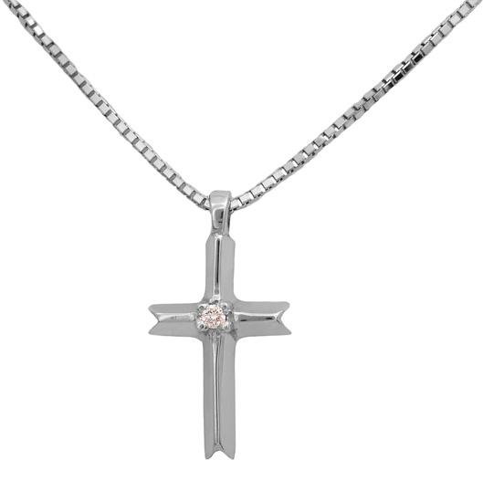 Λευκόχρυσος σταυρός με διαμάντια 18 καράτια 011726 Χρυσός 18 Καράτια χρυσά κοσμήματα σταυροί