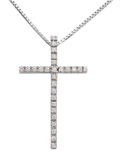 Βαπτιστικοί Σταυροί με Αλυσίδα Σταυρός λευκόχρυσος 18Κ με διαμάντια 011732 Γυναικείο Χρυσός 18 Καράτια