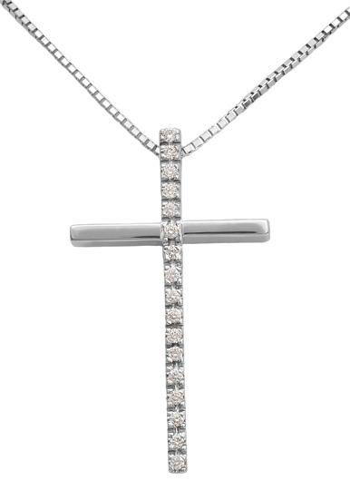 Βαπτιστικοί Σταυροί με Αλυσίδα Λευκόχρυσος σταυρός με διαμάντια 18Κ 011733 01173 σταυροί βάπτισης   γάμου βαπτιστικοί σταυροί με αλυσίδα