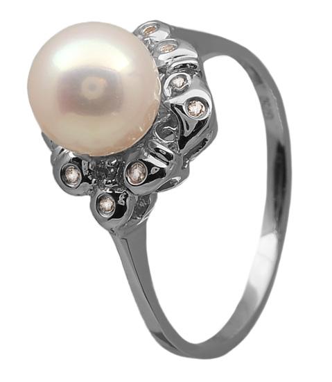 Λευκόχρυσο δαχτυλίδι 18Κ με μαργαριτάρι και διαμάντια 011963 Χρυσός 18 Καράτια