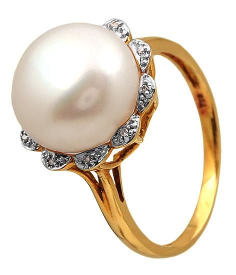 Δαχτυλίδι χρυσό 18 καράτια με μαργαριτάρι και μπριγιάν 011965 Χρυσός 18 Καράτια