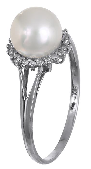 Λευκόχρυσο 18Κ δαχτυλίδι με μαργαριτάρι και διαμάντια 011972 011972 Χρυσός 18 Κα χρυσά κοσμήματα δαχτυλίδια με μαργαριτάρια και διάφορες πέτρες
