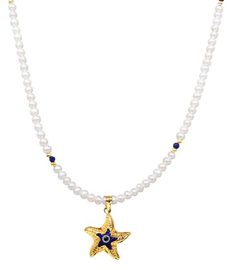 Κολιέ με μαργαριτάρια 012003 Χρυσός 14 Καράτια
