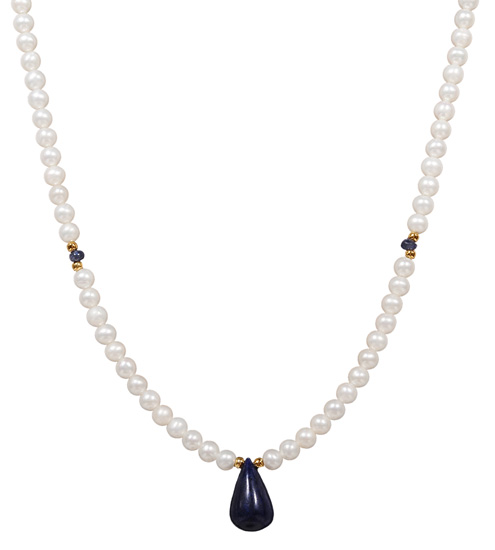 Κολιέ με μαργαριτάρια και ζαφείρι 012004 Χρυσός 14 Καράτια