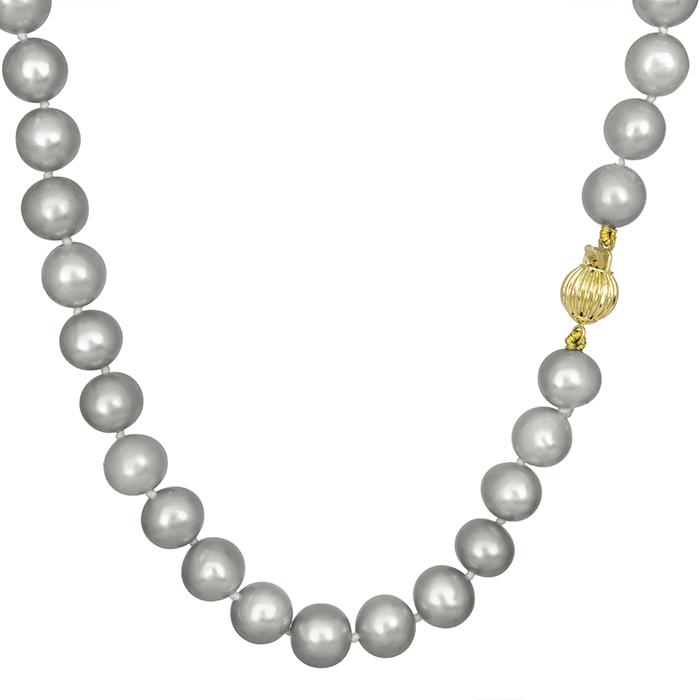 Κολιέ με γκρι μαργαριτάρια 012015 012015 Χρυσός 14 Καράτια