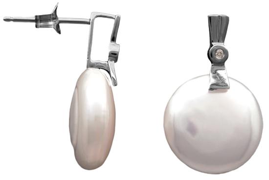 Μαργαριταρένια σκουλαρίκια με διαμάντια 012019 Χρυσός 18 Καράτια