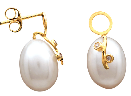 Χρυσά σκουλαρίκια Κ18 με μαργαριτάρια 012022 Χρυσός 18 Καράτια χρυσά κοσμήματα σκουλαρίκια καρφωτά