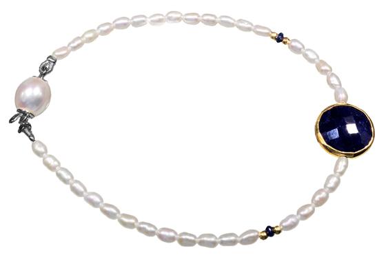 Μαργαριταρένιο βραχιόλι με ζαφείρι 012024 Χρυσός 14 Καράτια