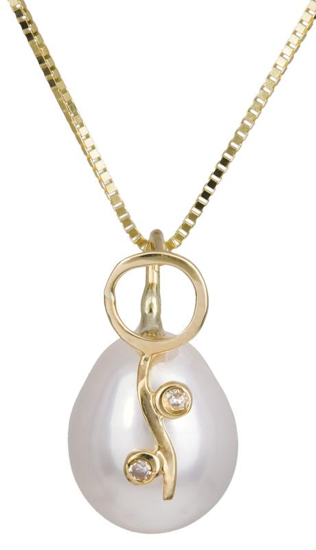 Γυναικείο κολιέ με μαργαριτάρι και διαμαντάκια Κ18 C012027 012027C Χρυσός 18 Καράτια