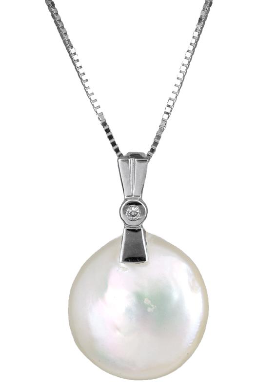 Γυναικείο κολιέ με μαργαριτάρι και διαμάντι Κ18 C012028 012028C Χρυσός 18 Καράτια
