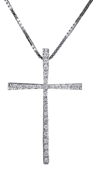 Βαπτιστικοί Σταυροί με Αλυσίδα Σταυρός λευκόχρυσος Κ18 με διαμάντια 012085 012085 Γυναικείο Χρυσός 18 Καράτια