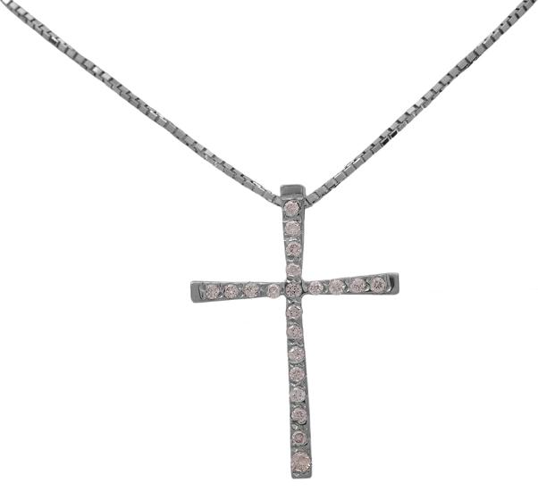 Βαπτιστικοί Σταυροί με Αλυσίδα Λευκόχρυσος σταυρός 18 καράτια με brilliants 012086 012086 Γυναικείο Χρυσός 18 Καράτια