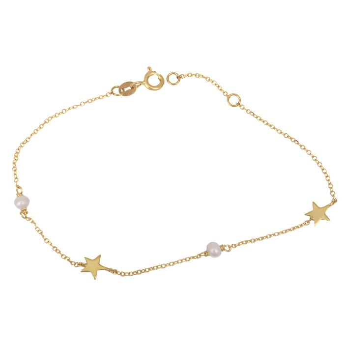 Βραχιόλι με αστεράκια και μαργαριταράκια Κ14 025554 025554 Χρυσός 14 Καράτια
