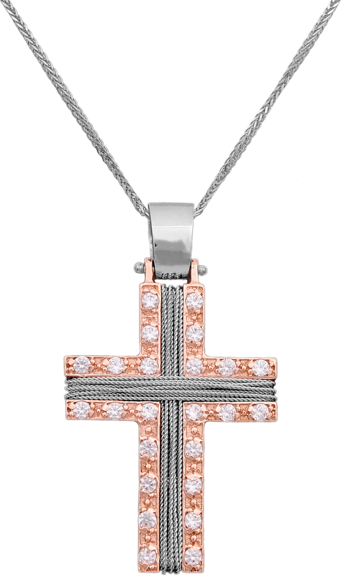 Βαπτιστικοί Σταυροί με Αλυσίδα Ροζ σταυρός 14Κ με αλυσίδα 012172C Γυναικείο Χρυσός 14 Καράτια
