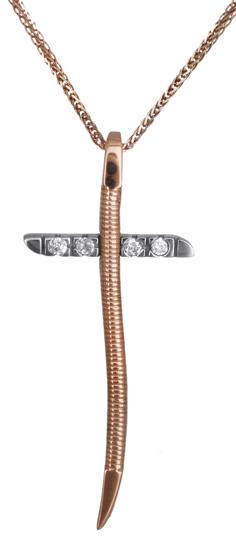 Βαπτιστικοί Σταυροί με Αλυσίδα Ροζ χρυσός σταυρός 14Κ C012174 012174C Γυναικείο Χρυσός 14 Καράτια