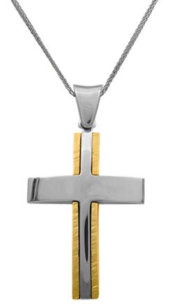 Βαπτιστικοί Σταυροί με Αλυσίδα Δίχρωμος σταυρός 14Κ με αλυσίδα 012177C Ανδρικό Χρυσός 14 Καράτια