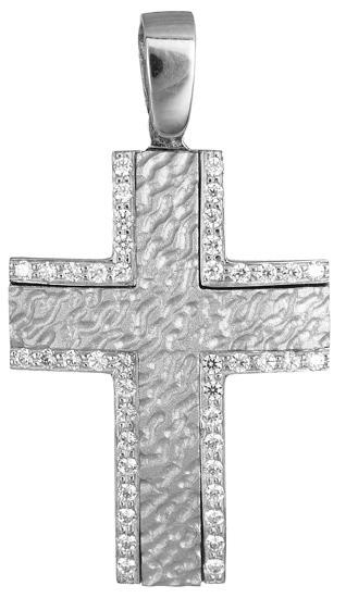 Σταυροί Βάπτισης - Αρραβώνα Λευκόχρυσος σταυρός 14Κ 012181 012181 Γυναικείο Χρυσός 14 Καράτια