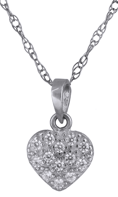 Κολιέ λευκόχρυσο καρδούλα Κ14 012223 012223 Χρυσός 14 Καράτια
