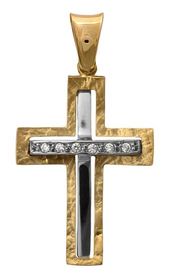 Σταυροί Βάπτισης - Αρραβώνα Δίχρωμος σταυρός 14Κ 012287 Γυναικείο Χρυσός 14 Καράτια