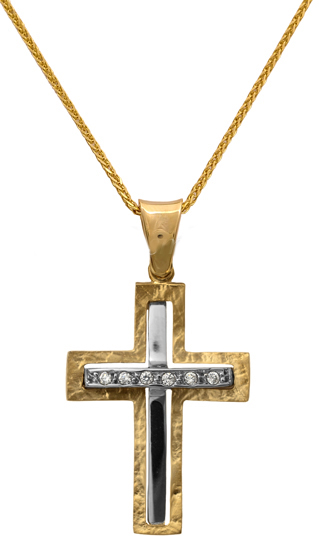 Βαπτιστικοί Σταυροί με Αλυσίδα Δίχρωμος σταυρός 14Κ με αλυσίδα 012287C Γυναικείο Χρυσός 14 Καράτια
