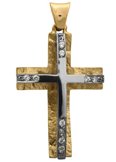 Σταυροί Βάπτισης - Αρραβώνα Δίχρωμος σταυρός Κ14 012290 Γυναικείο Χρυσός 14 Καράτια