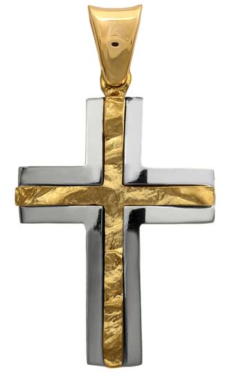 Σταυροί Βάπτισης - Αρραβώνα Σταυρός δίχρωμος 14Κ 012293 012293 Ανδρικό Χρυσός 14 Καράτια