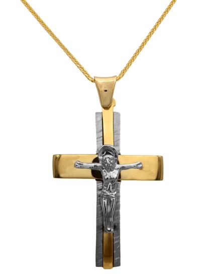 Βαπτιστικοί Σταυροί με Αλυσίδα Σταυρός δίχρωμος με αλυσίδα 14Κ για αγόρι 012295C Ανδρικό Χρυσός 14 Καράτια