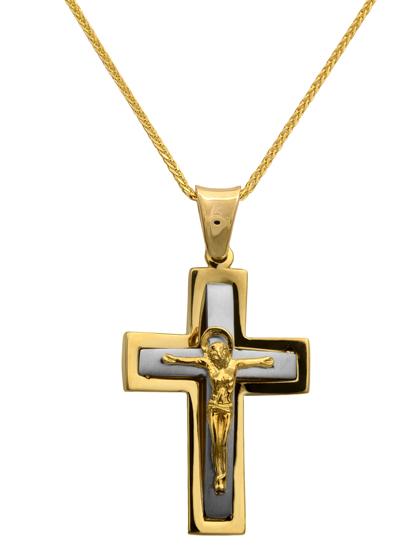 Βαπτιστικοί Σταυροί με Αλυσίδα Σταυρός δίχρωμος 14Κ με καδένα 012296C Ανδρικό Χρυσός 14 Καράτια
